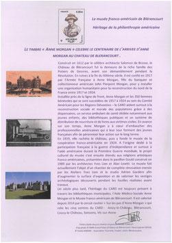 Feuillet  historique  centenaire d'ANNE MORGAN à blérancourt