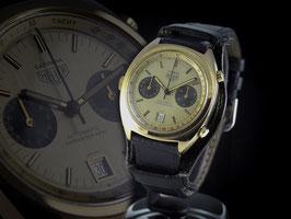 "Original Vintage Heuer Carrera Chronograph Automatik stahl/gold Panda Dial Ref: 110.255  Cal. 12 aus 1970 ""TOP"""