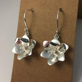 Zilveren bloem oorhangers