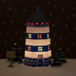 Leuchtturm Ahoi blau/weiß