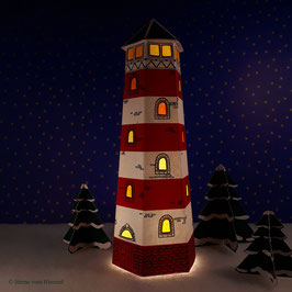 Mini Leuchtturm rot (inklusive Beleuchtung)