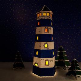 Mini Leuchtturm blau (inklusive Beleuchtung)