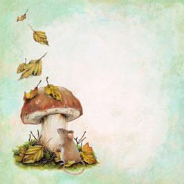 Blöckchen Maus unterm Pilz