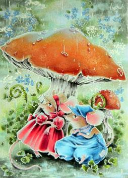 Mäuschen unter dem Pilz