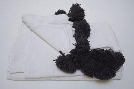 pompon deken white/ grey pompons XL