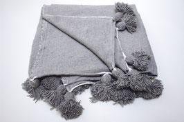 pompon deken plain grey XL