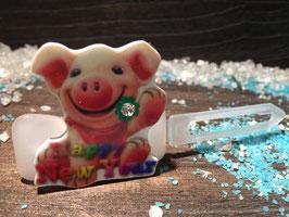 """Silvester MotivHundeHaarSpange """" Silvester Schwein Nr 6 """""""