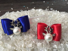 """WeihnachtsSchleife """" SET Rentierkopf  Silber Royalblau/ Rot """""""