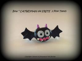 "Bunte Halloween HundehaarSpangen "" Nr  16 CATWOMAN mit SWK  pink """