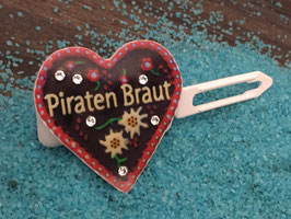 """MotivSpange """" Oktoberfest Piraten Braut Rot mit SWK  Kristall """""""