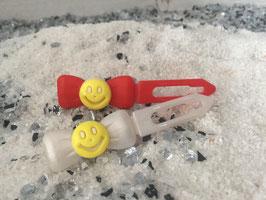 """Emotion / Smiley klein HundeHaarSpange """" Lachende SMILEY`S  Zitronengelb """""""