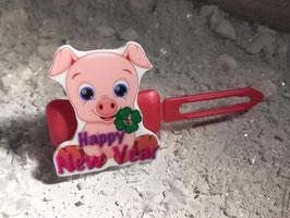 """Silvester MotivHundeHaarSpange """" Silvester Schwein Nr 8 """""""