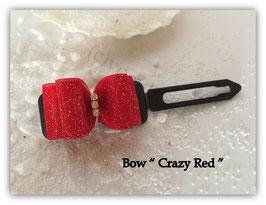 """Schleife """" Glamour Bow Crazy Red auf schwarzer Spange """""""