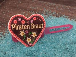 "MotivSpange "" Oktoberfest Piraten Braut Rosa mit SWK  Pink """