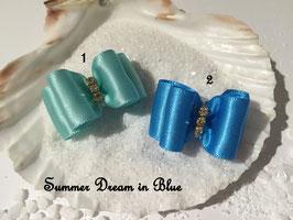 "HundeHaarSpange : Schleife "" Classic Summer Dream mint  und hellblau """