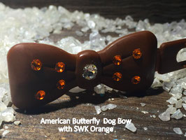"Kunststoff HundehaarSpange/ SWK  "" Glamour American Butterfly Dog Bow Brown Nr . 1  Orange/Crystall SWK"""