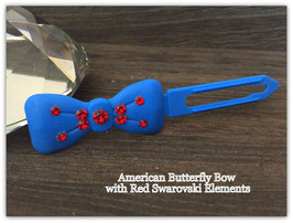 "Kunststoff HundehaarSpange/ SWK  "" Glamour American Butterfly Dog Bows Blue with Red SWK   """