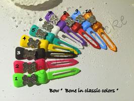 "HundeHaarSpange mit MetallApplikation "" Bone in Classic Colors  """