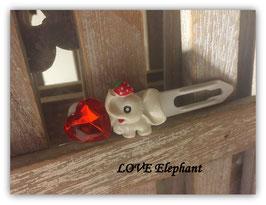 "HundeHaarSpange "" Elefant  rot / weiß  mit rotem Herz """