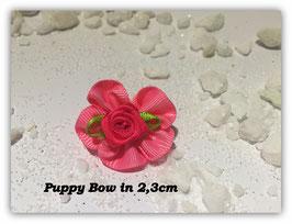 """HundeHaarSpange Mini Puppy Bow   """" Süßes Stoffschleifchen  in rosa mit pink Rose   """""""