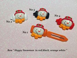 "HundehaarSpange  "" Happy Snowman  """