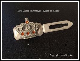 """HundeHaarSpange """" Glitterkrone  Silber  mit (4) oder ohne SWK Orange  """""""