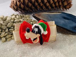 """Weihnachtsschleifen Disney und Co """"  WeihnachtsGoofy auf golden/rotenen Schleife """""""