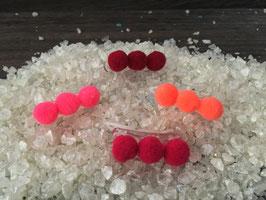 """WelpenHundehaarSpange BabyBommel """"3er Bommel  dunkelrot/pink/neonrot/ erdbeere """""""