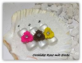 "HundeHaarSpange Rose Nr. 2  "" OrchideenRose mit SWK """