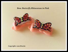 "HundeHaarSpange mit MetallApplikation  "" Butterfly Rhinestone  Pink  """