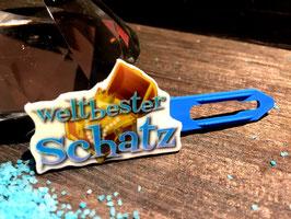 """MotivHundehaarSpange """"  Weltbester SCHATZ blau """""""