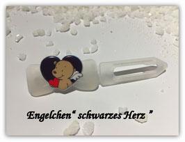 """HundeHaarSpange """" Engelchen : schwarzes Herz """""""