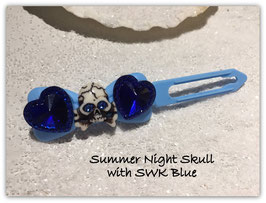 "HundeHaarSpange ""  Skull / Heart SummerNight Skull Blau No 2  """