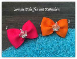 """HundehaarSchleife """" SommerScheifchen mit Krönchen SET  Nr . 1 pink/orange """""""