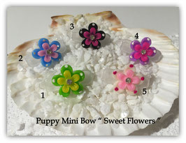 "HundeHaarSpange Mini Puppy Bow   "" Sweet Flowers ""     """