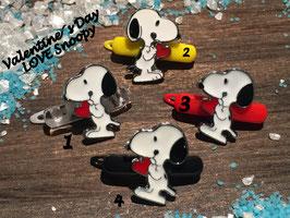"Welpen HundehaarSpange mit Metallapplikation "" Valentine´s Day LOVE Snoopy  rotes Herz """