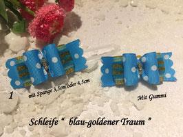 "HundeHaarSpange : Schleife groß "" Bow  Blau -Goldener Traum   """
