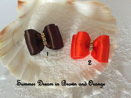 "HundeHaarSpange : Schleife "" Classic Summer Dream braun und orange """