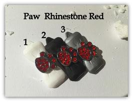 "HundeHaarSpange mit MetallApplikation "" Rhinestone Paw Red """