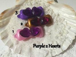 "HundeHaarSpangen "" Valentine´s 2erHerzen  Purple"