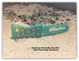 "Kunststoff HundehaarSpange/ SWK  "" Glamour American Butterfly Dog Bows Snowpearls Blue """