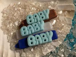 "Balken HundehaarSpange "" Schrift BABY blau """