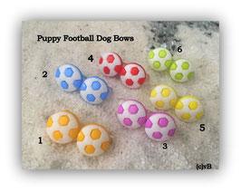 """Fußball Puppy/Welpen HaarSpangen  """" 2 Fußbälle auf 2,7cm durchsichtig """""""