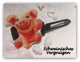 """Silvester MotivHundeHaarSpange """" Silvester Schwein Nr 10 """""""