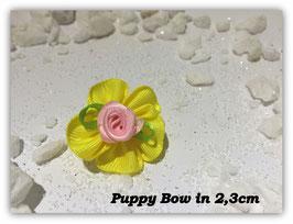 """HundeHaarSpange Mini Puppy Bow   """" Süßes Stoffschleifchen  in gelb mit rosa Rose   """""""
