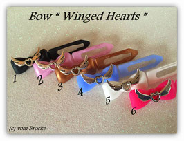 "HundeHaarSpange mit MetallApplikation  ""  Winged Hearts on colorful bows   "" """