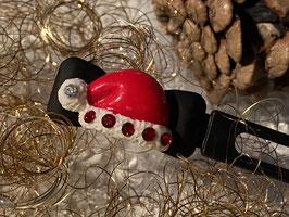"""Klassische WeihnachtshundehaarSpangen  """"  Weihnachtsmützchen mit  6 SWK (rot/kristall ) """""""