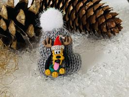 Wintermützchen mit Pluto und Mützchen mit Rhinestone grau