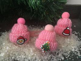 "Buntes Wintermützchen mit Applikation "" rosa """