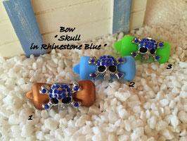 "HundeHaarSpange "" Skull in Rhinestone Blue  """